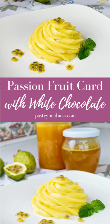 Pinterest pin image with passion fruit curd