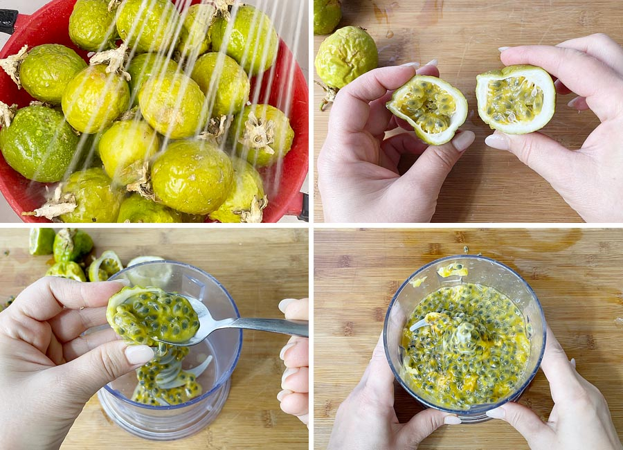 steps of making passion fruit juice