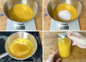 Weigh the juice, add the sugar, cook for one minute, pout it into a jar.