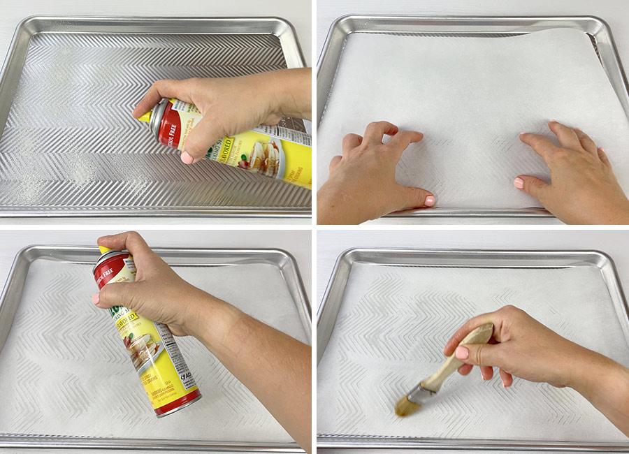 Greasing the half sheet baking pan