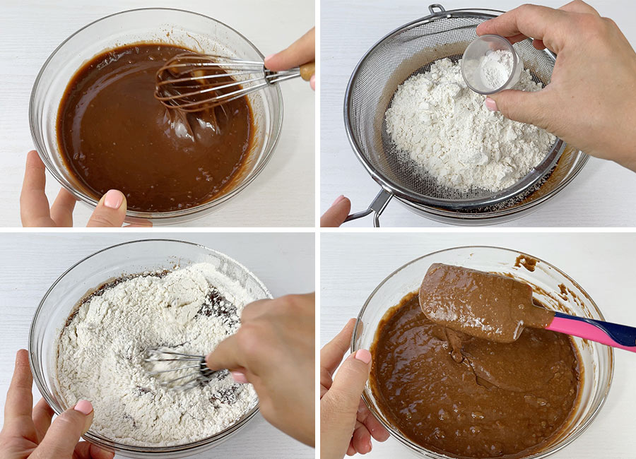 Sifting in the flour, baking powder and baking soda