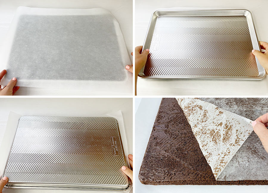 Removing the cake from the baking sheet