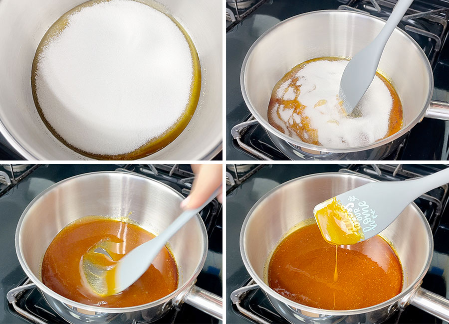 Stirring a hot caramel