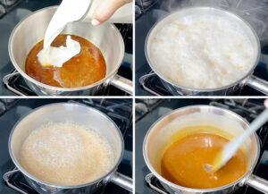 Ading the hot heavy cream to the hot caramel