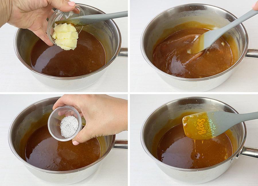 Adding utter and salt to the caramel sauce
