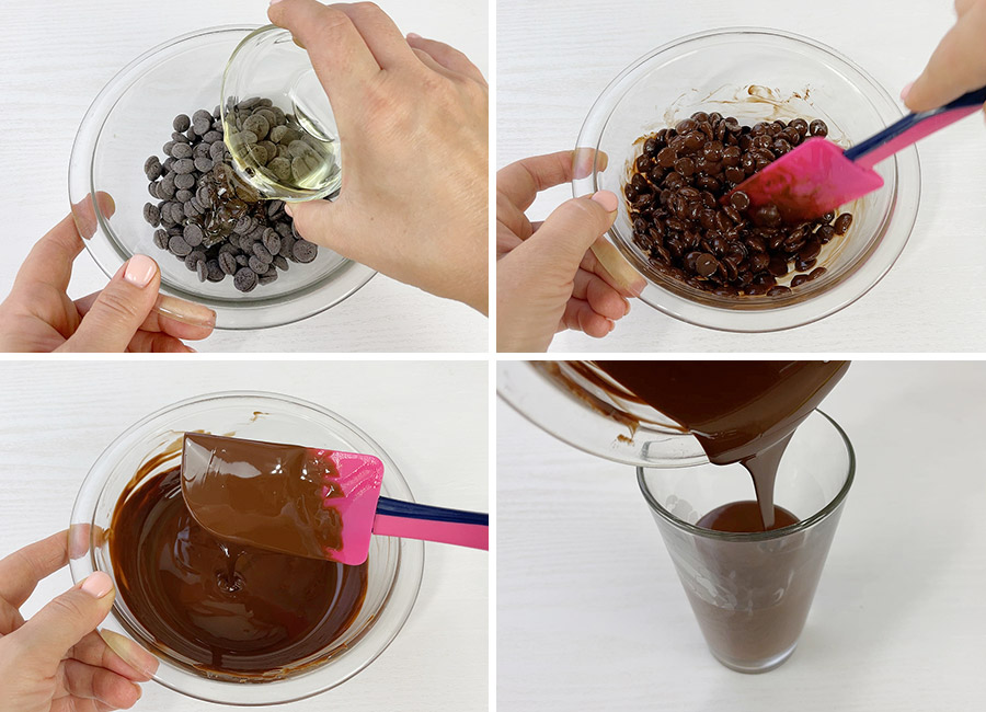 Melting the chocolate with the canola oil