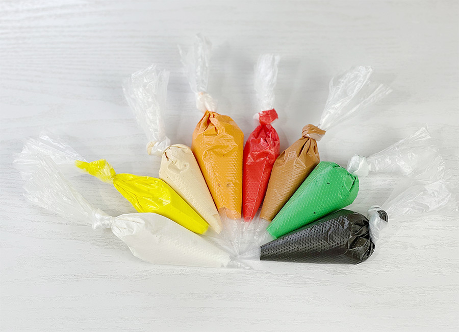 Colored Royal Icing in the piping bags