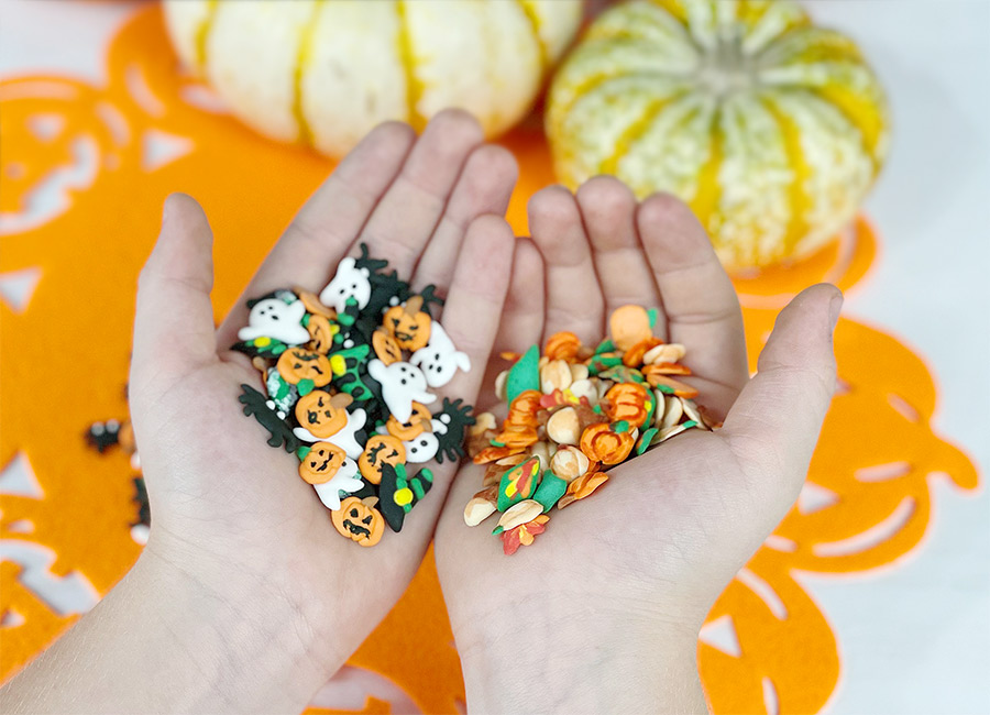 DIY Fall and Halloween Sprinkles inside the palms