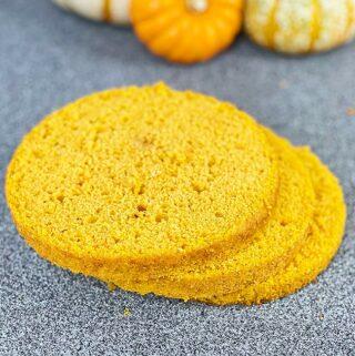 Layers of pumpkin sponge cake